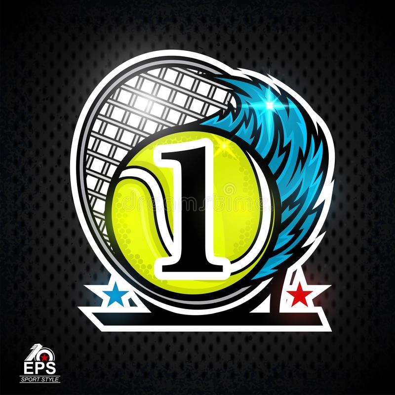 Racquet and tennis ball with number one or first place. Sport logo. For any team or competition royalty free illustration