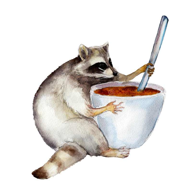 Racum com caneca, caráter animal isolado no fundo branco ilustração royalty free