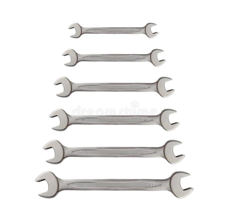 Rad av den isolerade skiftnyckeln för hjälpmedel för mekanikersilvermetall för reparation fotografering för bildbyråer