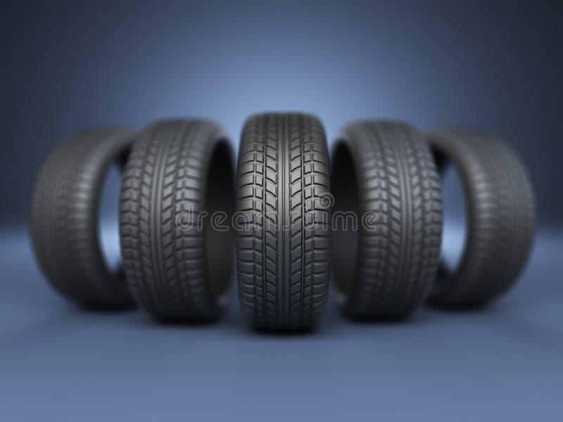 Rad av det rubber gummihjulet 3D, på blått royaltyfri illustrationer