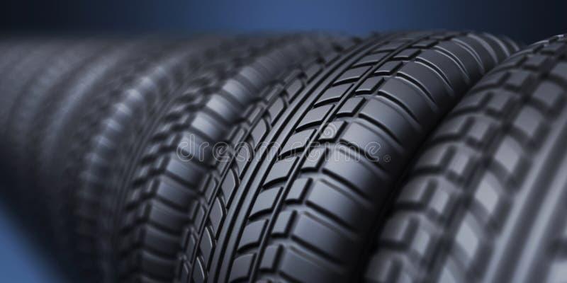Rad av det rubber gummihjulet 3D, på blått vektor illustrationer