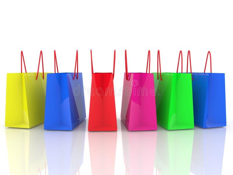 Rad av färgrika shoppingpåsar på vit vektor illustrationer
