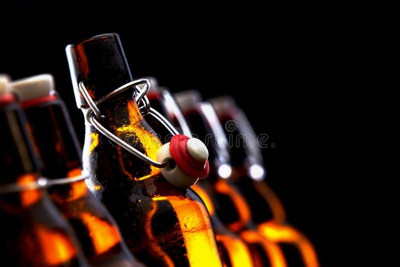 Rad av glödande ölflaskor med proppar royaltyfri foto