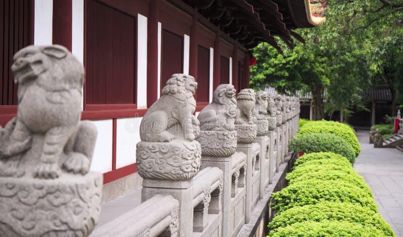 Rad av kinesiska stenlejon royaltyfri foto