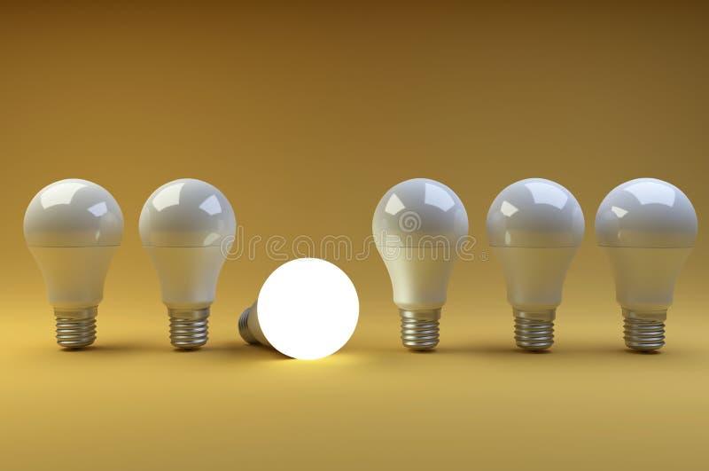 Rad av LED ljusa kulor med en som är olik från andra på en nolla stock illustrationer