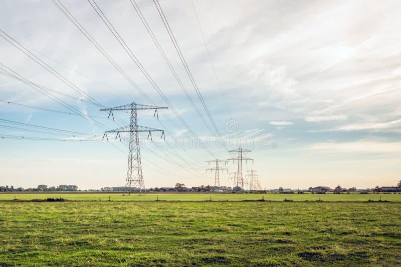 Rad av maktpyloner med höga spänningslinjer i ett holländskt polderlandskap royaltyfria bilder