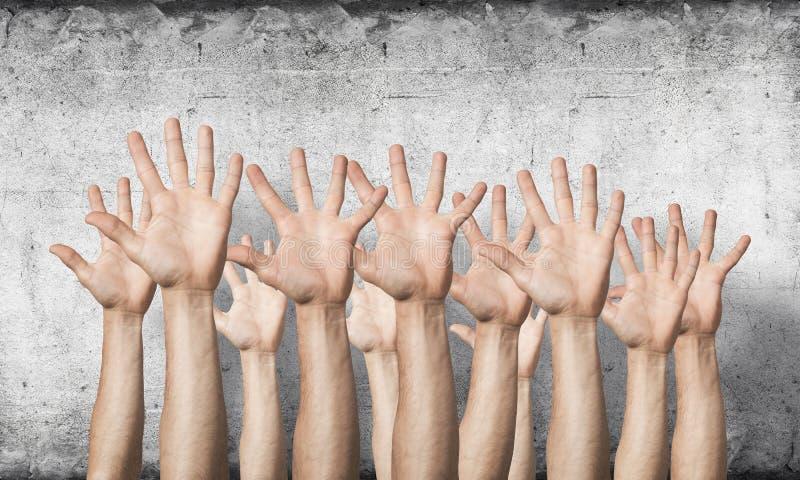 Rad av manh?nder som visar fem spridningfingrar vektor illustrationer