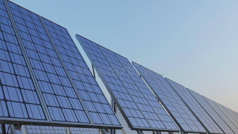 Rad av moderna solpaneler mot blå himmel Förnybara energikällorutveckling, CGI arkivfoto