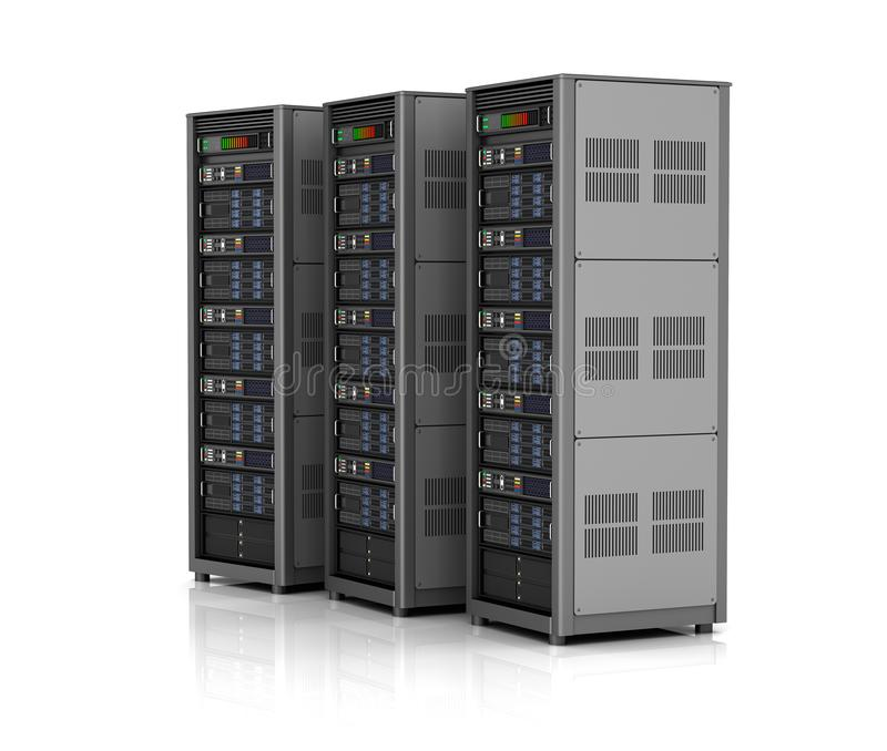 Rad av n?tverksserveror i datorhallen som isoleras p? vit bakgrund illustration 3d royaltyfria foton