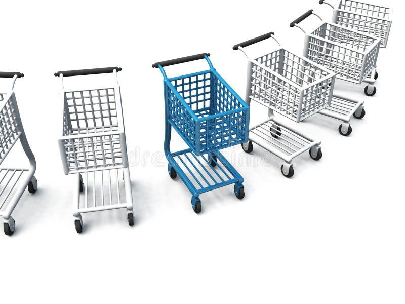 Rad av shoppingvagnar stock illustrationer