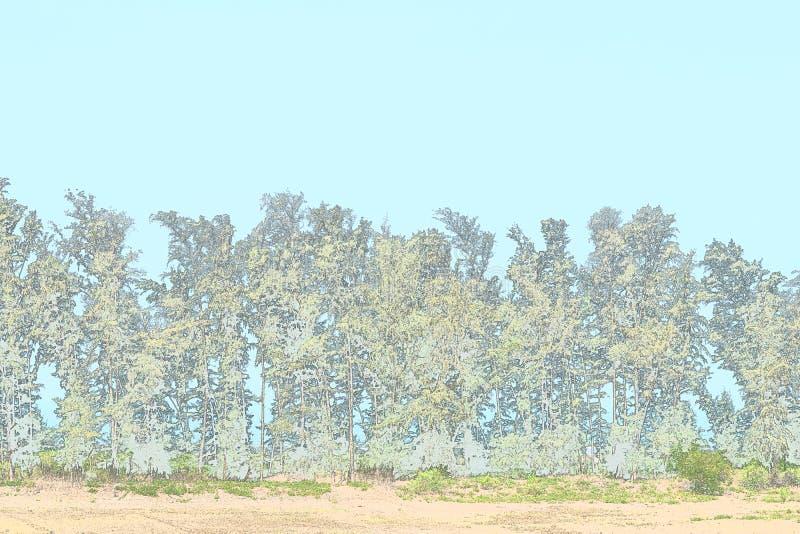 Rad av träd - grön miljö - illustrationbakgrund stock illustrationer