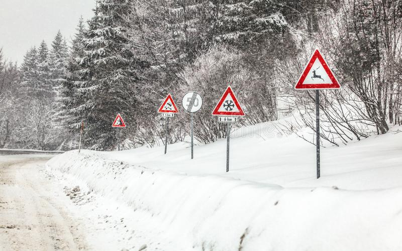 Rad av varnande roadsign på den farliga delen av skogvägen, under vinterhäftig snöstorm Varning - deers, snö, sladdningar och arkivfoto