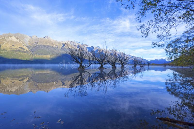 Rad av viden på sjön Wakatipu i Glenorchy, Nya Zeeland arkivbild