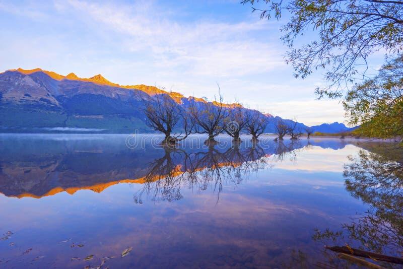 Rad av viden på sjön Wakatipu i Glenorchy, Nya Zeeland royaltyfri foto