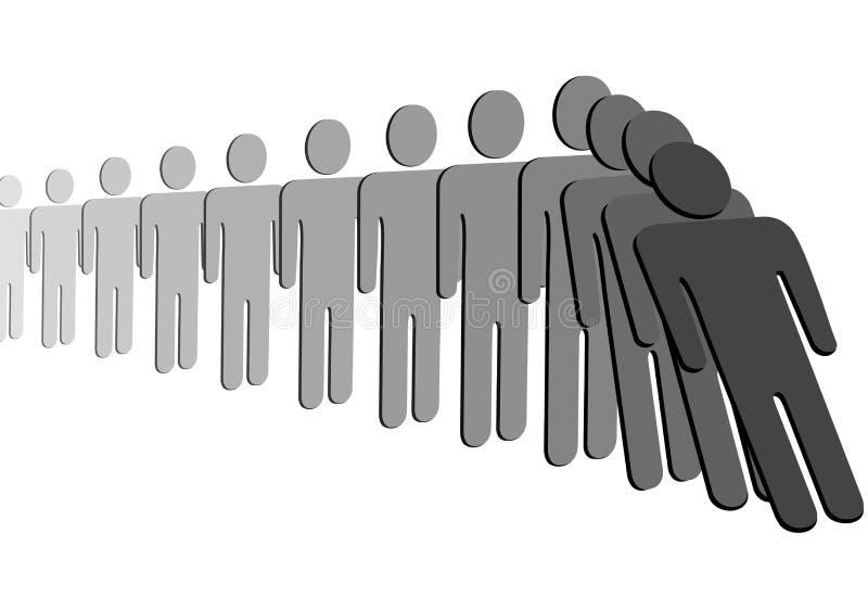 rad för folk för fall för dominoeffekt royaltyfri illustrationer