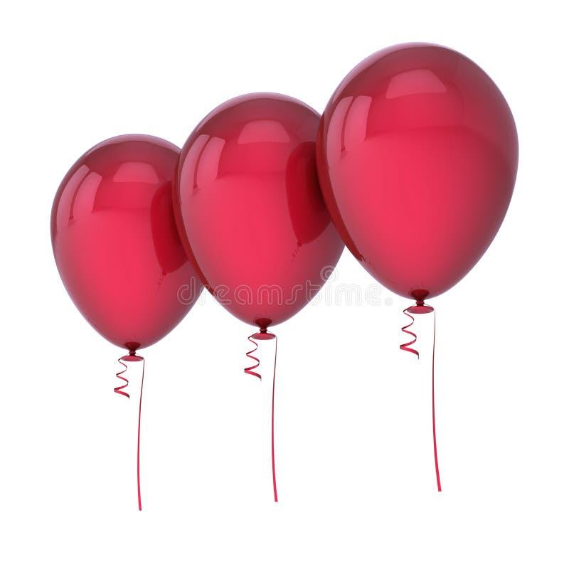 Rad för mellanrum för tre ordnad röd heliumballonger royaltyfri illustrationer