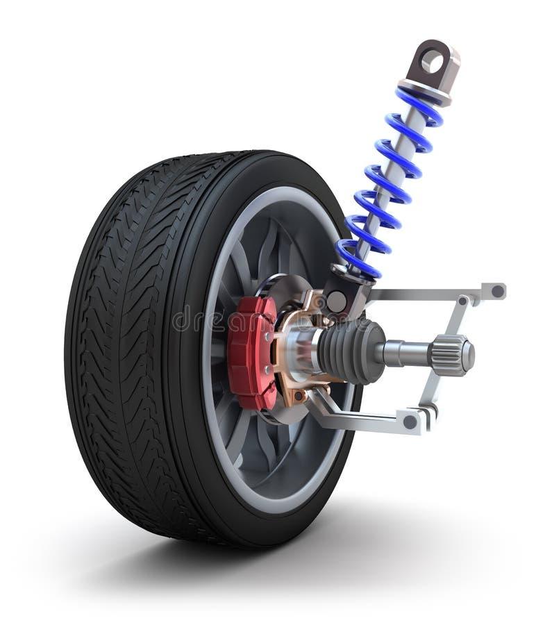 Rad, Stoßdämpfer und Bremsbeläge stock abbildung