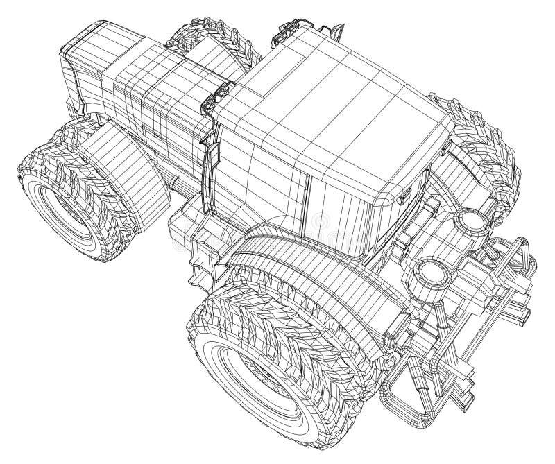 4 Rad-Treiben Sie Traktor #5 an Spurillustration von 3d Vektorformat ENV 10 vektor abbildung