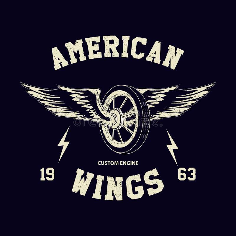 Rad- und Flügelzeichen für Radfahrer T-Shirt Druck Kundenspezifisches Motorrademblem der Weinlese stock abbildung