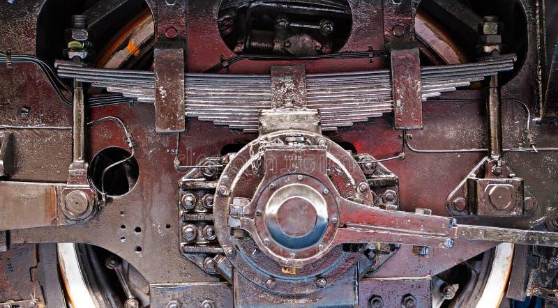 Rad und Frühling des alten Zugs lizenzfreie stockbilder