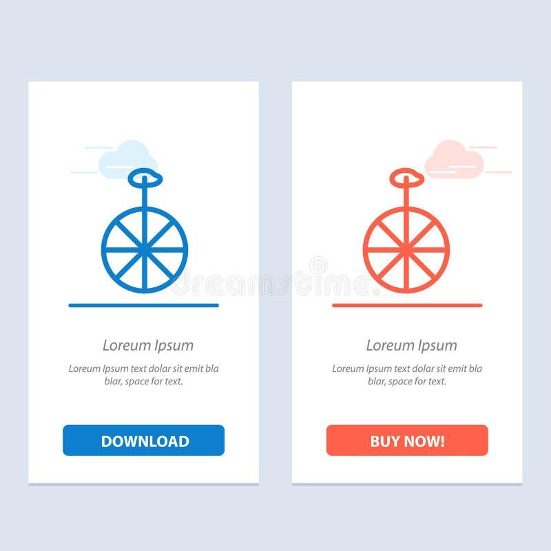 Rad, Zyklus, Zirkus-Blau und rotes Download und Netz Widget-Karten-Schablone jetzt kaufen lizenzfreie abbildung