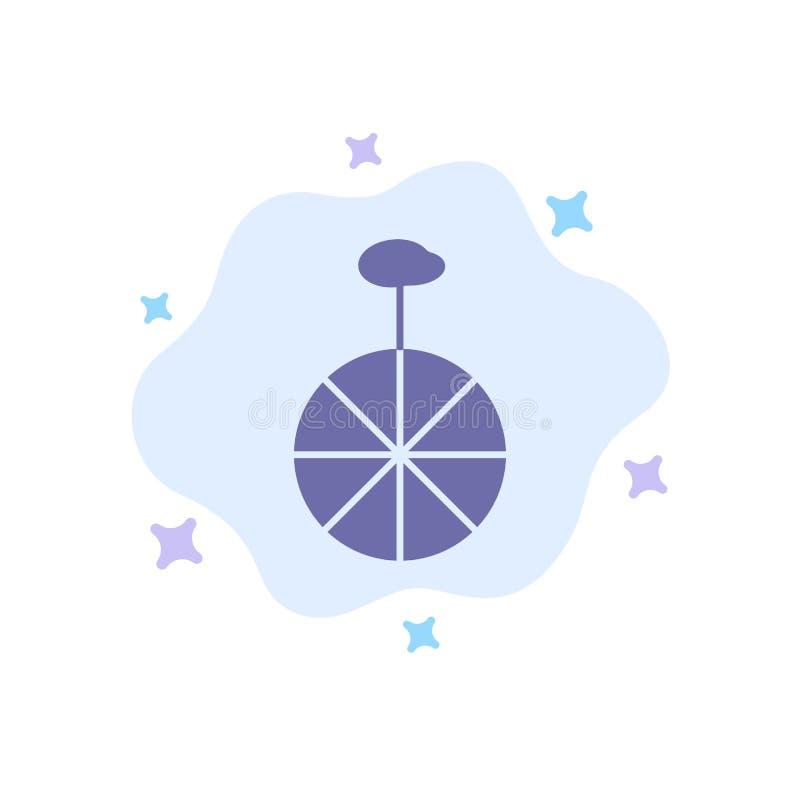Rad, Zyklus, Zirkus-blaue Ikone auf abstraktem Wolken-Hintergrund vektor abbildung