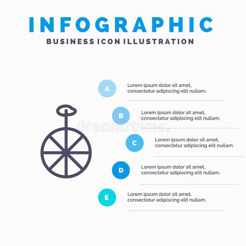 Rad, Zyklus, Zirkus blaue Schritte Infographics-Schablonen-5 Vektorlinie Ikonenschablone vektor abbildung