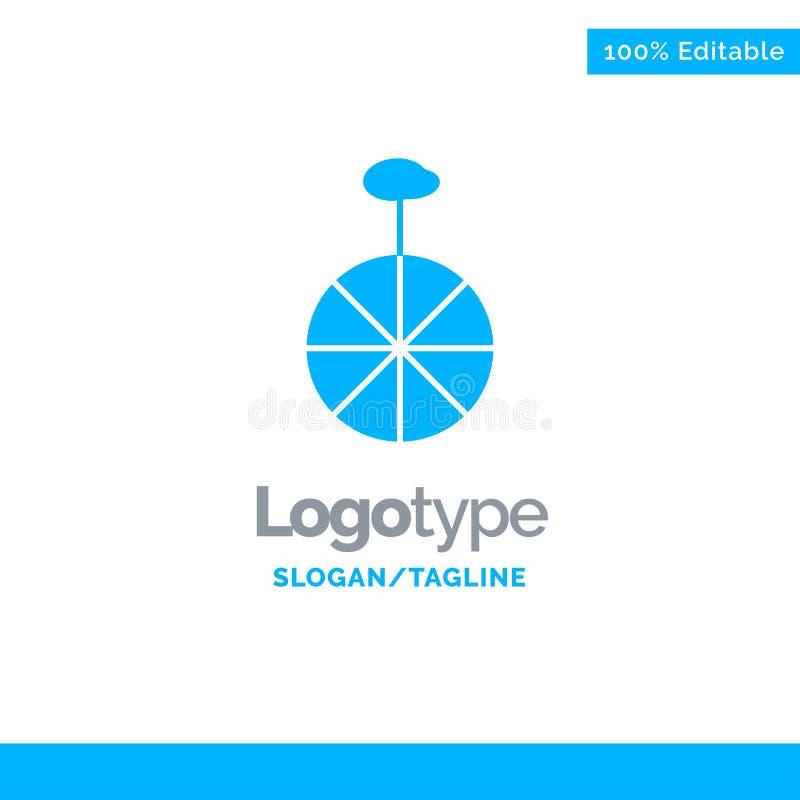 Rad, Zyklus, Zirkus-blaues Geschäft Logo Template vektor abbildung