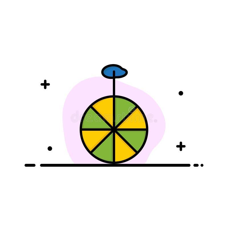 Rad, Zyklus, Zirkus-Geschäft Logo Template flache Farbe stock abbildung