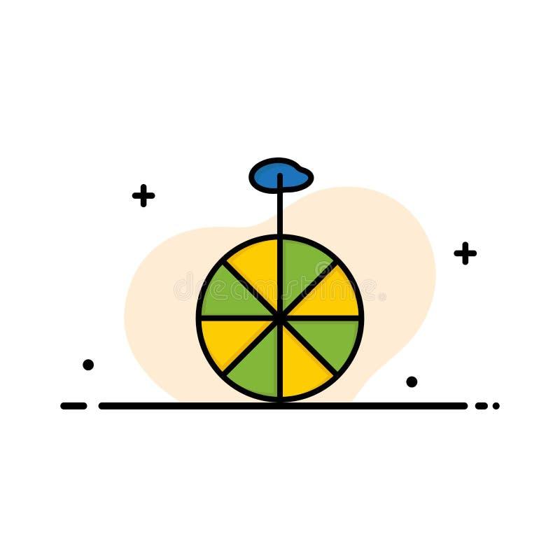 Rad, Zyklus, Zirkus-Geschäfts-flache Linie füllte Ikonen-Vektor-Fahnen-Schablone vektor abbildung