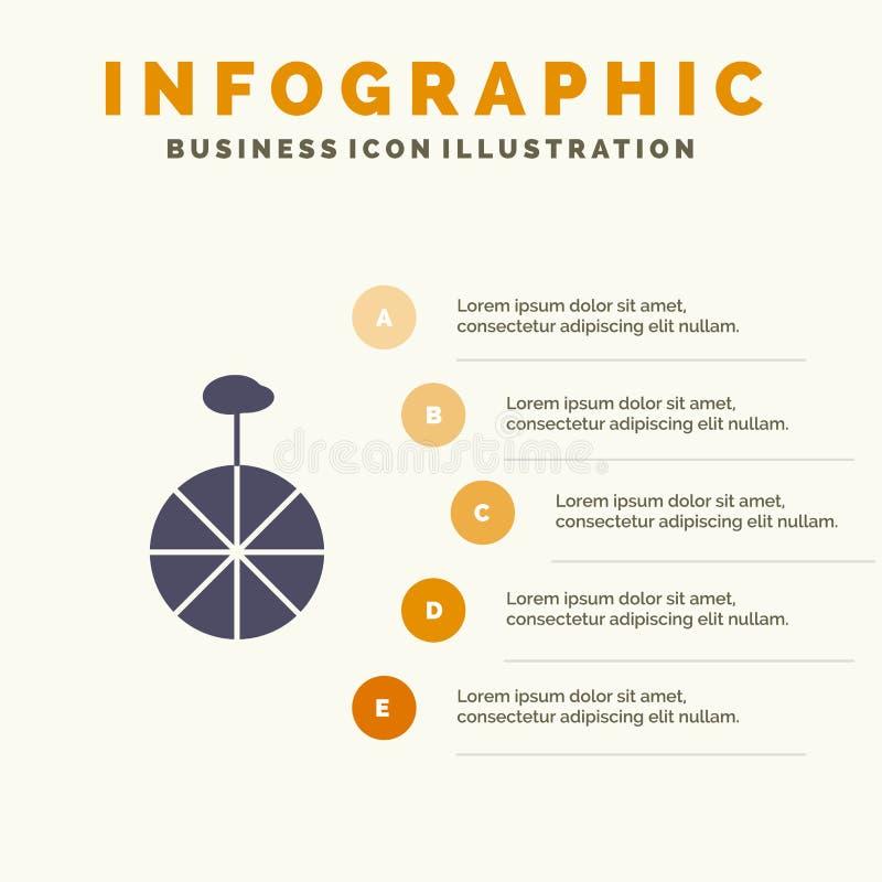 Rad, Zyklus, Zirkus Infographics-Darstellungs-Schablone 5 Schritt-Darstellung stock abbildung