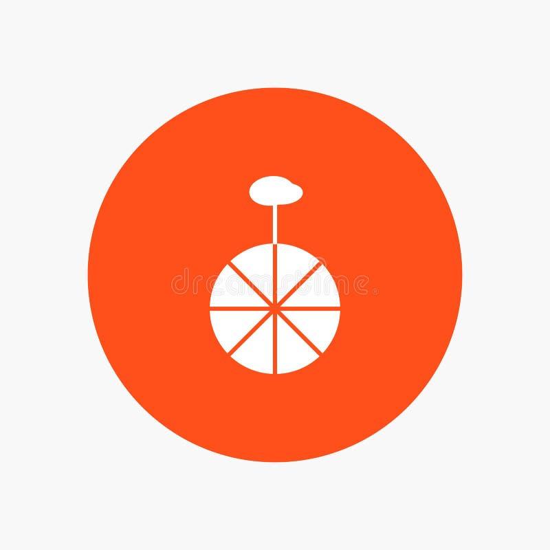 Rad, Zyklus, Zirkus weiße Glyphikone vektor abbildung