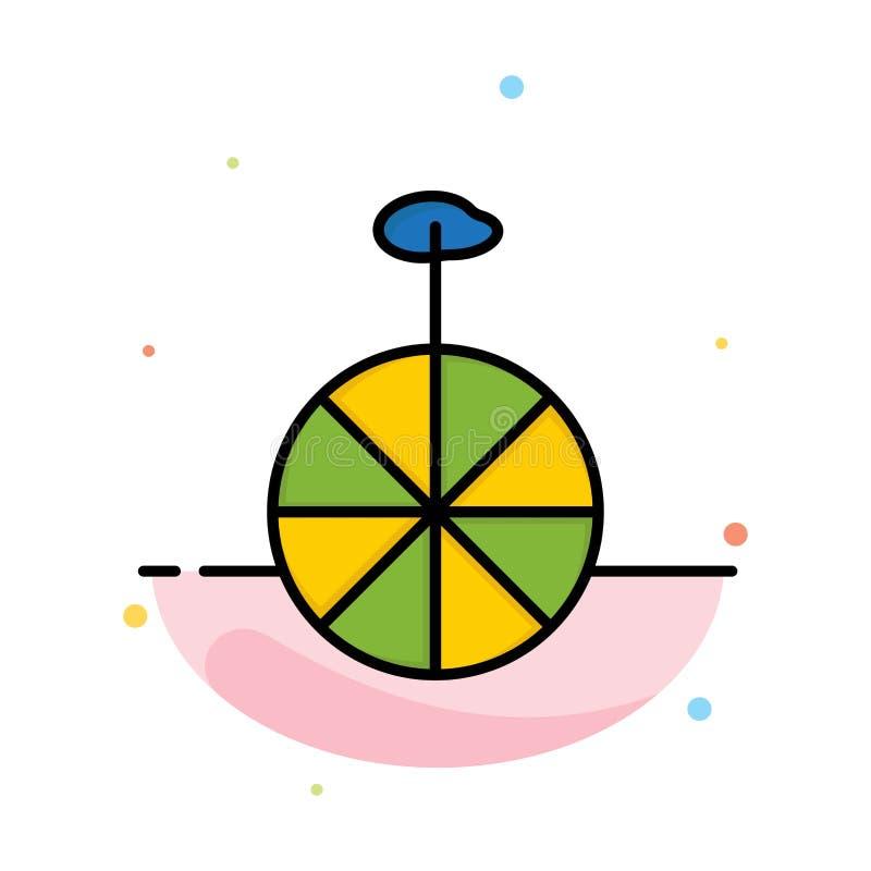 Rad, Zyklus, Zirkus-Zusammenfassungs-flache Farbikonen-Schablone vektor abbildung