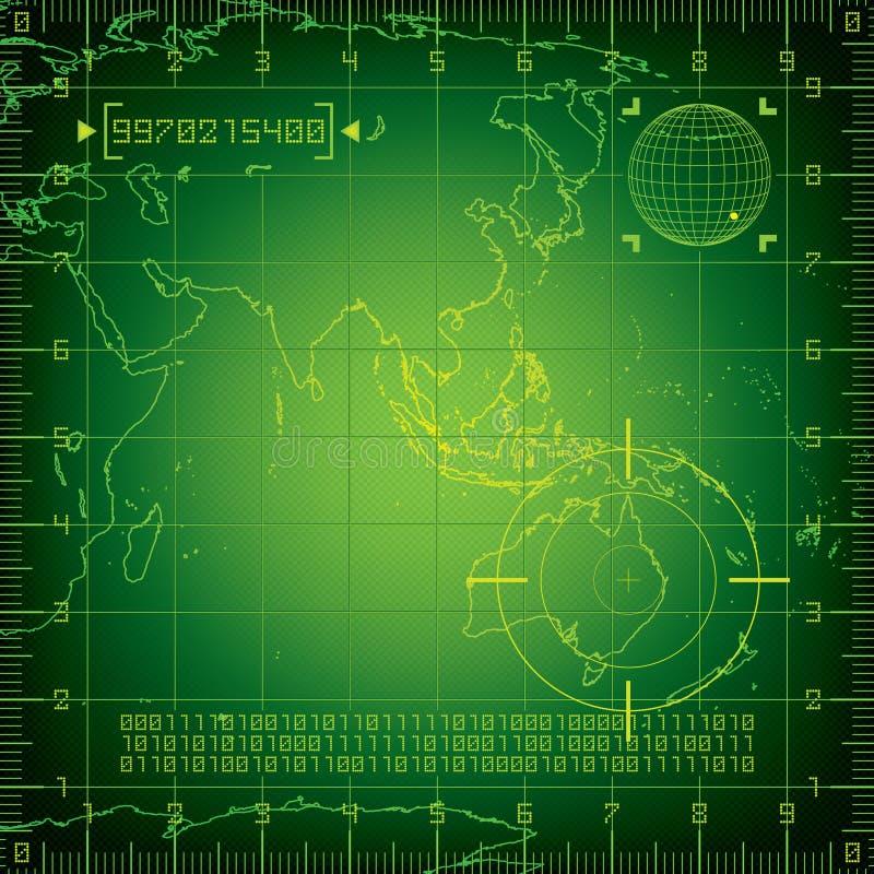 Radar Ásia e Austrália ilustração stock