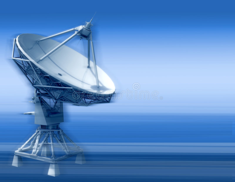 Radar. The parabolic aerial of space communication on a dark blue background