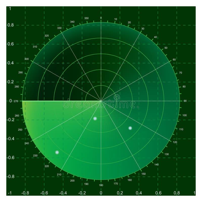 Radar. Green radar screen, illustration AI8 compatible, mesh gradiern used royalty free illustration