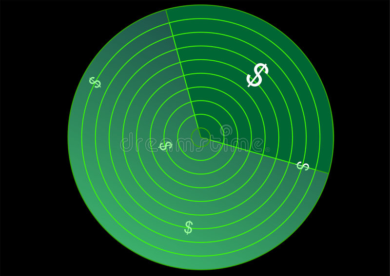 Radar avec le signe du dollar illustration stock