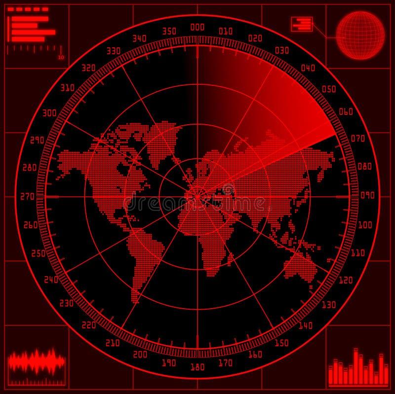 Radar avskärmer med världen kartlägger stock illustrationer