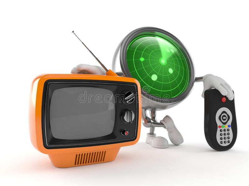 Radar character with tv set and remote. Isolated on white background. 3d illustration vector illustration