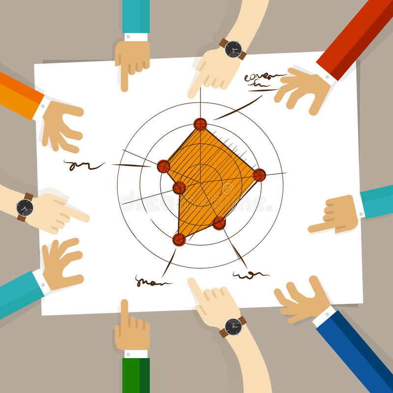 Radar chart performance strong aspects. hand drawing sketch analysis. team member together working discuss in a meeting. Hands pointing to paper vector royalty free illustration