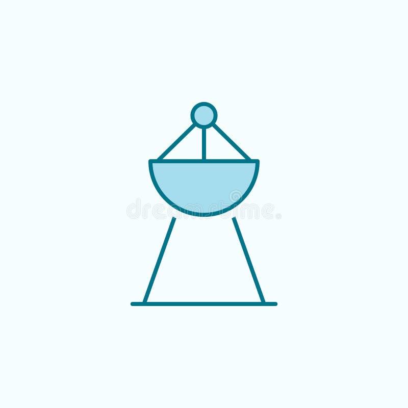 Radar 2 colored line icon. Simple colored element illustration. radar outline symbol design from Scientifics study set on blue. Background royalty free illustration