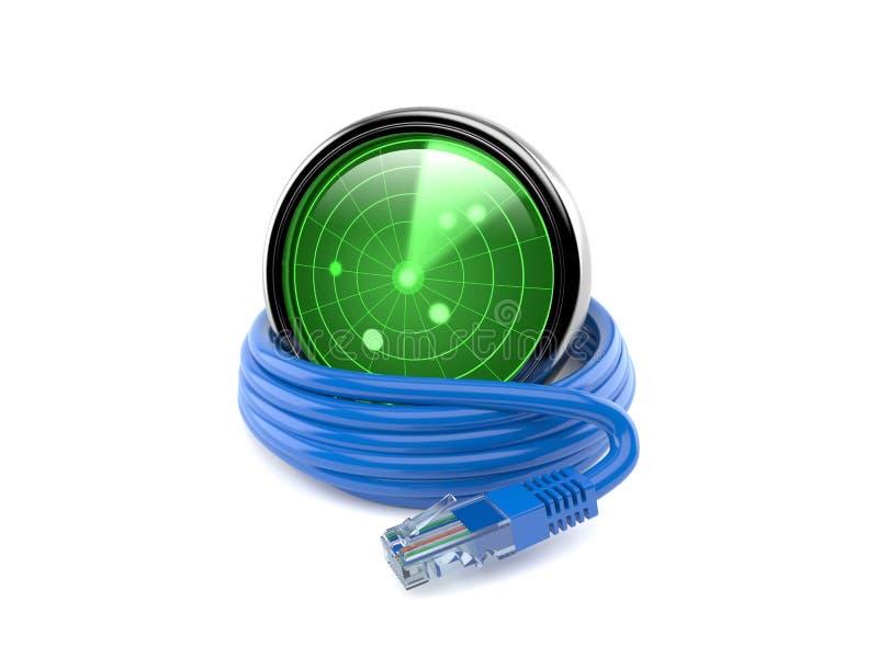 Radar con el cable de la red stock de ilustración