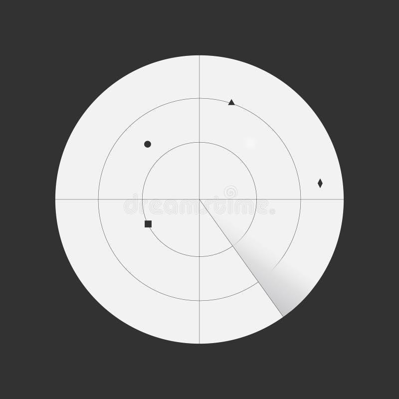 Radar da exploração com objetos detectados ilustração do vetor