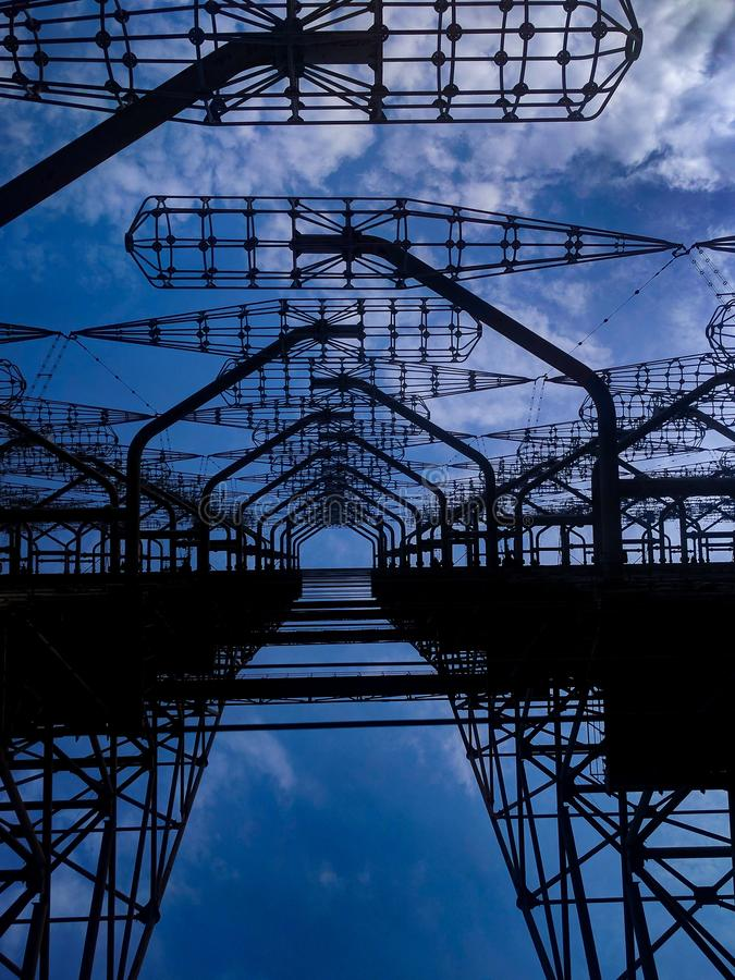 Radar de DUGA dans la zone d'exclusion de Chernobyl image stock