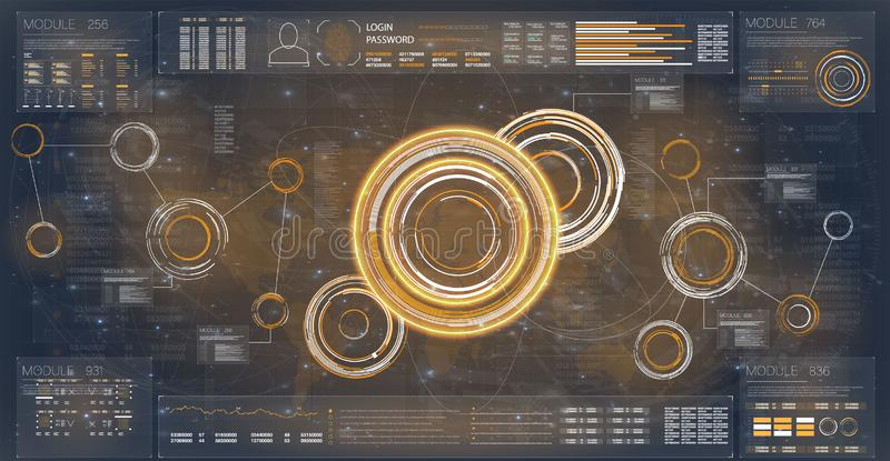 Radar de Hud Ajuste para o projeto da bandeira Molde futurista de Hud Tela de radar de Digitas Jogo do ícone da navegação Inovaçã ilustração do vetor
