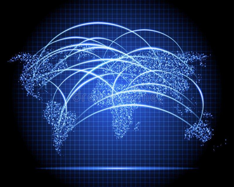Radar de néon do mapa do mundo ilustração royalty free