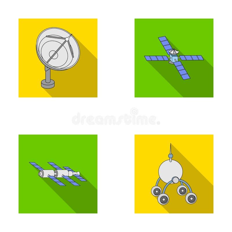 Radar de radio, atracando en nave espacial del espacio, Lunokhod Los iconos determinados de la colección de la tecnología espacia ilustración del vector