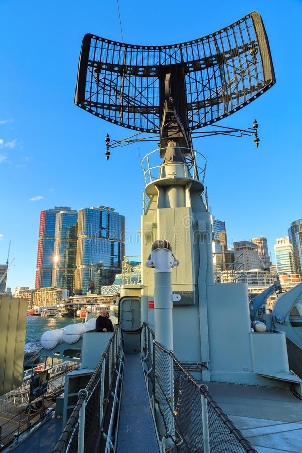 Radar dish on the destroyer HMAS Vampire. Sydney, Australia. The 1950s Daring-class destroyer HMAS Vampire, formerly part of the Royal Australian Navy, now a stock images