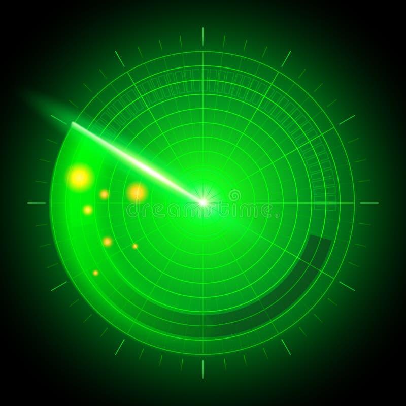 Radar för system för sökande för vektorillustration digital realistisk abstrakt militär med mål i handling på bildskärm Navigerin stock illustrationer