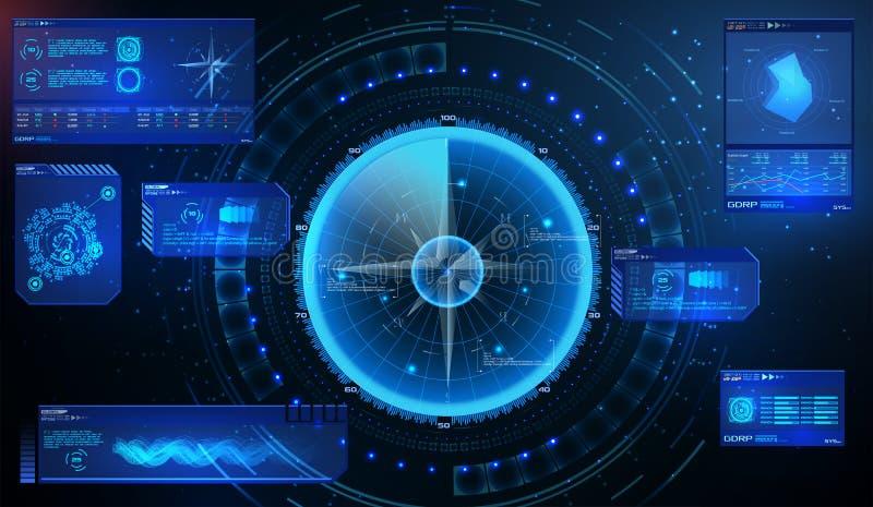 Radar futurista Los militares navegan el sonar Concepto futurista HUD, estilo del GUI Tablero de instrumentos de la pantalla, c?r stock de ilustración